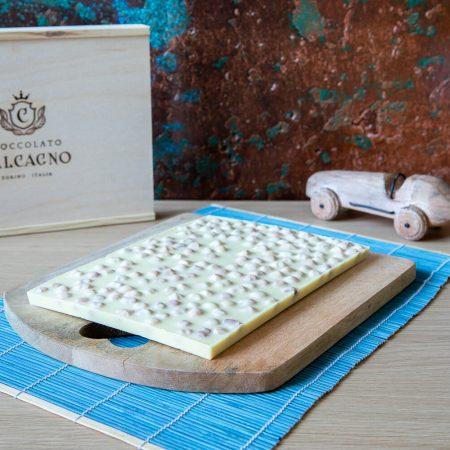 Lastra di cioccolato bianco in box di legno