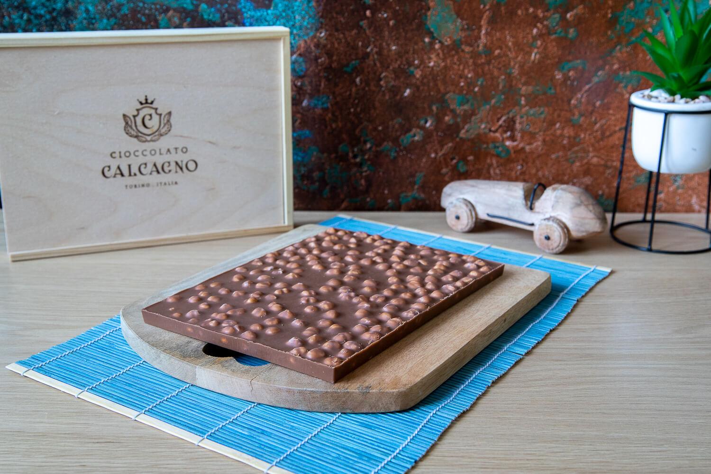 Lastra di cioccolato al latte in box di legno – 500gr