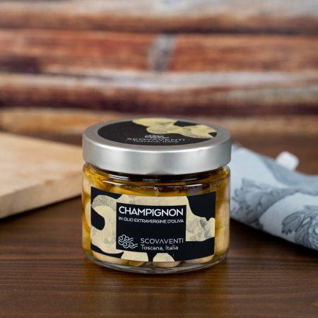 Champignon mushrooms in extra virgin olive oil